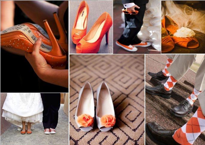 Scarpe Arancioni Sposa.Matrimonio Arancione